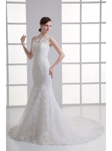 Mermaid V-Neck Lace Appliques Court Train Wedding Dress with Zipper Up