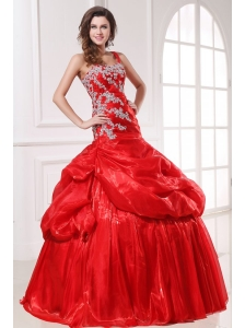 One Shoulder Red Organza Long Quinceanera Dress with Appliques