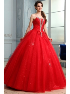 Strapless Beaded Decorate Fill Length Quinceanera Dress in Red