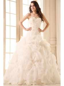 Sweetheart Appliques with Beading Wedding Dress with Organza