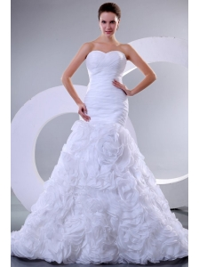 Sweetheart Mermaid Ruffles and Ruche Organza Wedding Dress