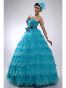 Teal Strapless Tulle and Sequins Long Quinceanera Dress with Bowknot