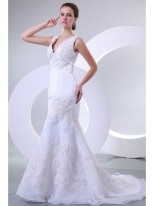 V-neck Mermaid Organza Appliques Wedding Dress for 2014 Spring