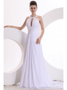 A-line Chiffon Scoop Appliques Sweep Train Wedding Dress