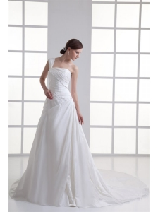 A-line One Shoulder Ruching Chiffon Court Train Wedding Dress