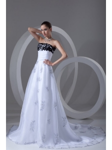 A-line Strapless Appliques Ruching Court Train Wedding Dress