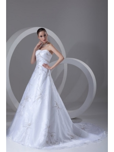A-line Strapless Embroidery and Beading Court Train Wedding Dress