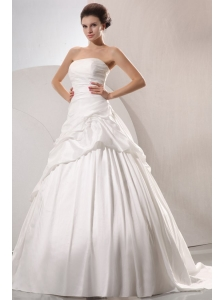 A-line Strapless Taffeta Court Train Wedding Dress with Pick-ups