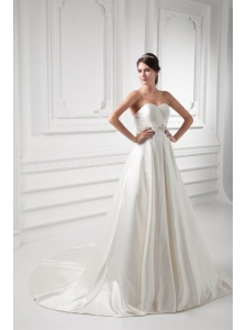 A-line Sweetheart Appliques and Ruching Satin Satin Wedding Dress
