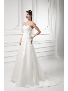 A-line Sweetheart Appliques Satin Court Train Wedding Dress