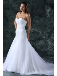 A-Line Sweetheart Beading Tulle Wedding Dress with Court Train