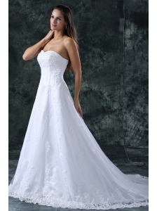 A-Line Sweetheart Court Train Lace and Appliques Organza Wedding Dress