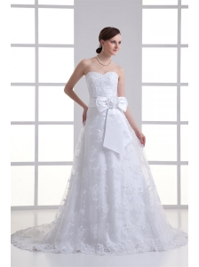 A-line Sweetheart Sash Lace Court Train Wedding Dress