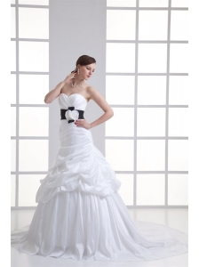 A-line Sweetheart Sash Pick-ups Ruching Court Train Wedding Dress
