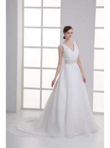 A-line V-neck Ruching Organza Beading Belt Court Train Wedding Dress