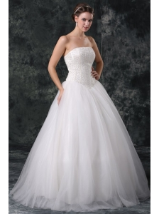 Ball Gown Strapless Beading Tulle Wedding Dress with Floor-length