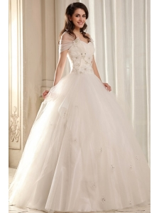 Ball Gown Sweetheart Beading on Flowers Floor-length Wedding Dress