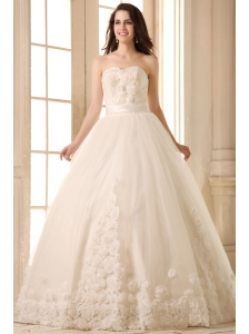 Ball Gown Sweetheart Hand Made Flowers Sweep Train Wedding Dress