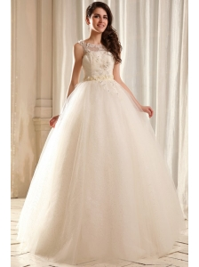 Bateau Ball Gown Beading and Appliques Wedding Dress in Floor-length