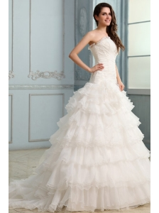 Beading and Flower Strapless Wedding Dress with Ruffles Layered