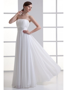 Cheap Empire Strapless Chiffon Wedding Dress with Ruching