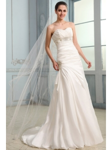 Column Sweetheart Beaded Decorate Taffeta Sweep Train Wedding Dress