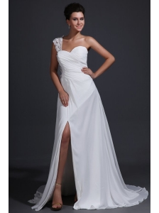 Empire Chiffon One Shoulder Appliques Wedding Dress with Train