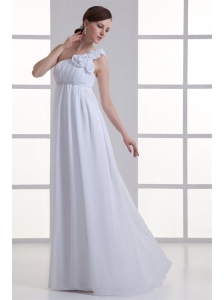 Empire One Shoulder Hand Made Flowers Ruching Chiffon Wedding Dress