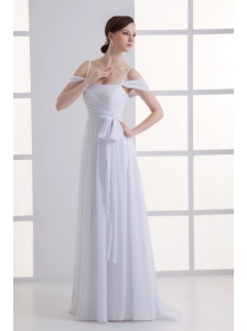Empire Spaghetti Straps Ruching Chiffon Wedding Dress