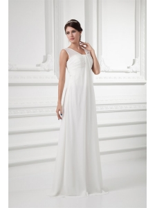 Empire Square Ruching Floor-length Chiffon Wedding Dress