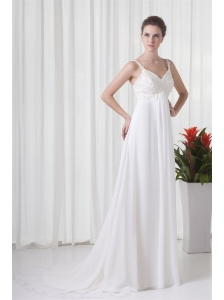 Empire Straps Appliques Chiffon Brush Train  Wedding Dress