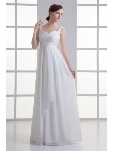 Empire Straps Beading and Ruching Chiffon Floor-length Wedding Dress