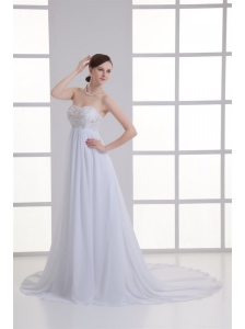 Empire Sweetheart Appliques Court Train Chiffon Wedding Dress