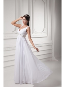 Empire V-neck Beading and Ruching Chiffon Long Wedding Dress