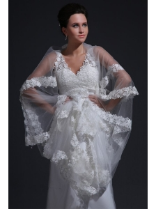 Exquisite V-neck A-line Lace Appliques Wedding Dress with Court Train