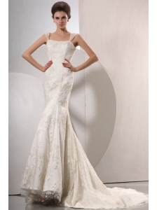 Exquisite Wide Straps Mermaid Lace Court Train Wedding Dress