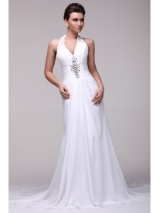 Halter Top Neck A-line Beading Taffeta Court Train Wedding Dress