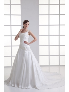 Luxurious A-line Scoop Chapel Train Wedding Dress with Appliques