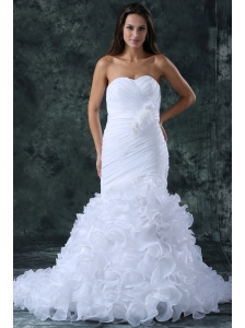 Luxurious Mermaid Sweetheart Brush Train Organza Ruching Wedding Dress