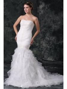 Mermaid Strapless Organza Ruffles and Ruching Wedding Dress with Court Train