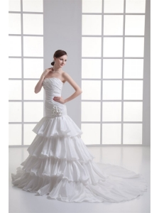Mermaid Strapless Ruffled Layers Appliques Chapel Train Wedding Dress