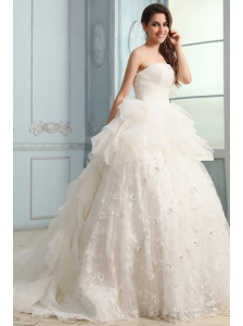 One Shoulder Ball Gown Beading and Appliques Organza Wedding Dress