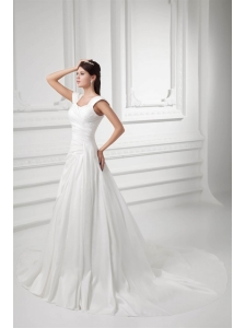 Pretty A-line Straps Chapel Train Wedding Dress with Ruching