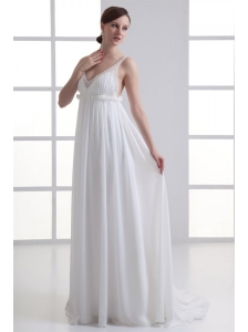 Sexy Empire V-neck Wedding Dress with Beading Brush Train