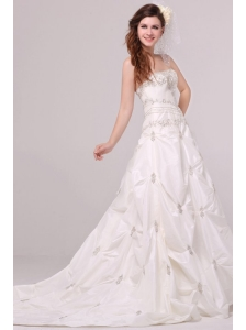 Strapless A-line Appliques and Pick-ups Taffeta Wedding Dress