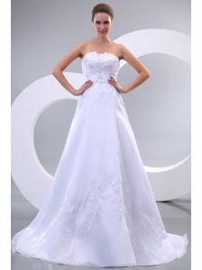 Strapless A-line Sweep Train Wedding Dress with Appliques and Beading
