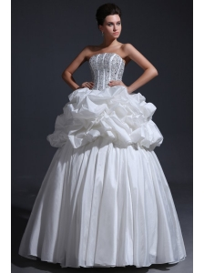 Strapless Ball Gown Beaded Decorate Bodice Taffeta Wedding Dress