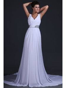 V-neck Chiffon Empire Court Train Wedding Dress with Beading