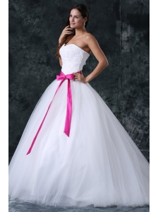 A-Line Beading and Sash Zipper Up Tulle Wedding Dress with Strapless
