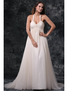 A-Line Halter Court Train Beading Tulle Wedding Dress